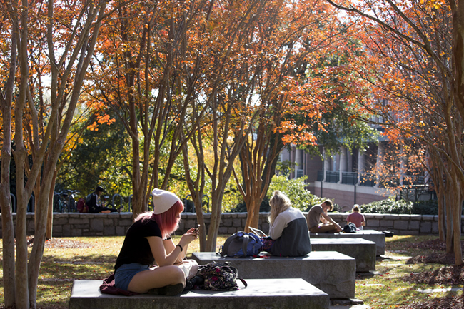 A group of students are sitting outside on stone benches underneath fall foliage